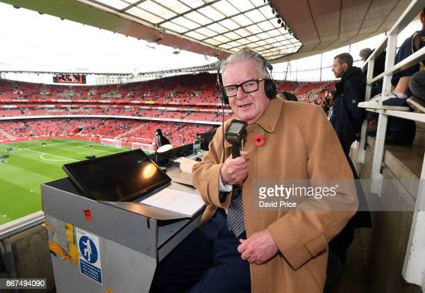 John Motson the BBC Commentator on his last visit to Emirates before the Premier League match between Arsenal and Swansea City at Emirates Stadium on...
