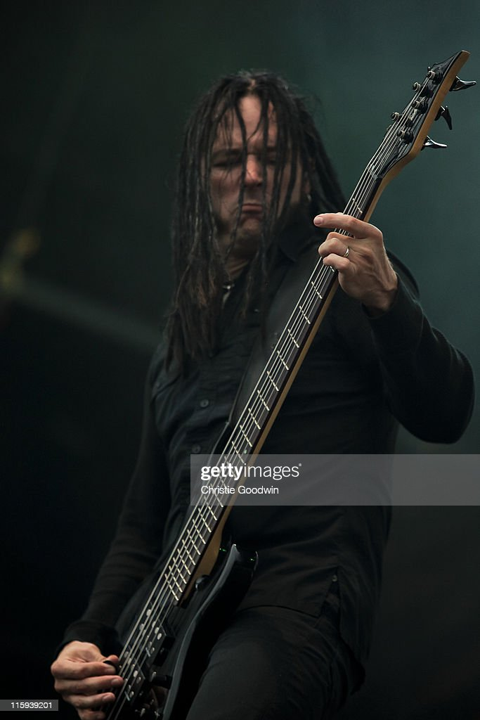 John Moyer of Disturbed performs on the main stage on Day 3 of Download Festival at Donington Park on June 12, 2011 in Castle Donington, England.