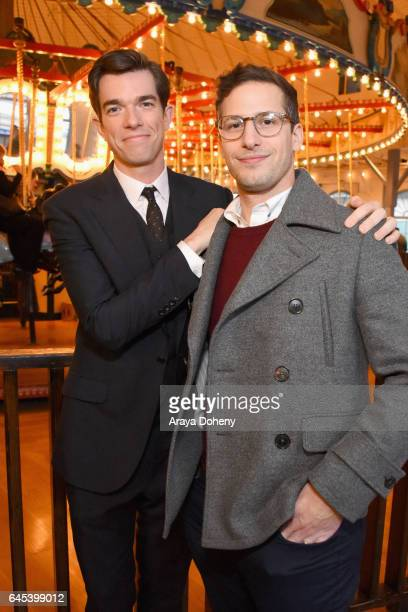 John Mulaney and Andy Samberg attend the 2017 Film Independent Spirit Awards at the Santa Monica Pier on February 25 2017 in Santa Monica California