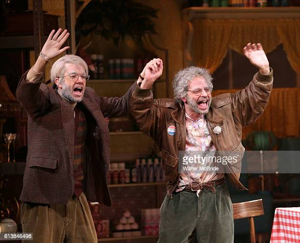 John Mulaney and Nick Kroll during the opening night performance curtain call of 'Oh Hello On Broadway' at Lyceum Theatre on October 10 2016 in New...