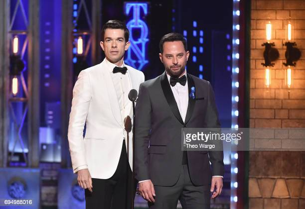 John Mulaney and Nick Kroll speak onstage during the 2017 Tony Awards at Radio City Music Hall on June 11 2017 in New York City