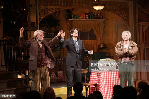 John Mulaney director Alex Timbers and Nick Kroll during the opening night performance curtain call of 'Oh Hello On Broadway' at Lyceum Theatre on...