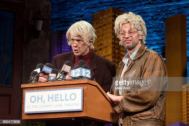 John Mulaney performing as George St Geeland and Nick Kroll performing as Gil Faizon attend the 'Oh Hello' Broadway Press Conference at Cherry Lane...