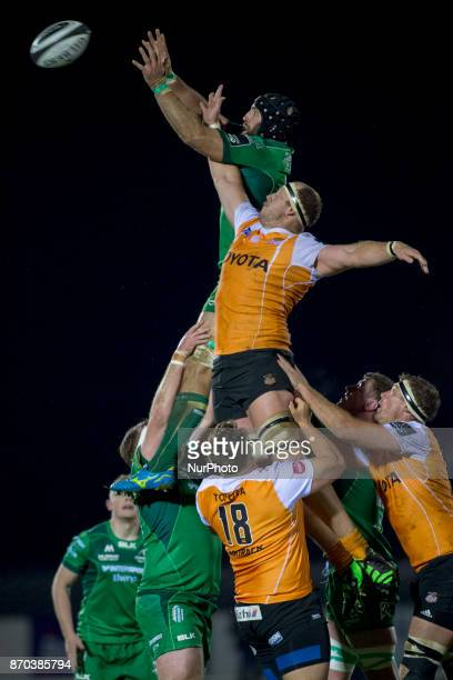 John Muldoon of Connacht fights for the ball during the Guinness PRO14 Round 8 rugby match between Connacht Rugby and Toyota Cheetahs at the...