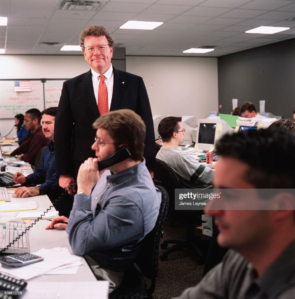 John Murphy CEO of The Oppenheimer Fund in the temporary office set up after the World Trade Center attack