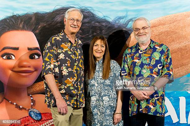 John Musker Osnat Shurer and Ron Cements attend 'Vaiana' photocall at Santo Mauro Hotel on November 23 2016 in Madrid Spain