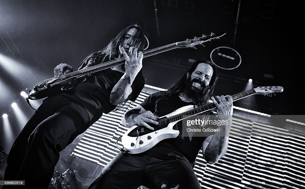 John Myung and John Petrucci of Dream Theater perform at Wembley Arena on February 14, 2014 in London, England.