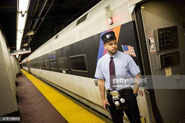 John Nagle a NJ Transit conductor waits for passengers to board the NJ Transit train from New York Penn Station to Trenton NJ on May 13 2015 in New...