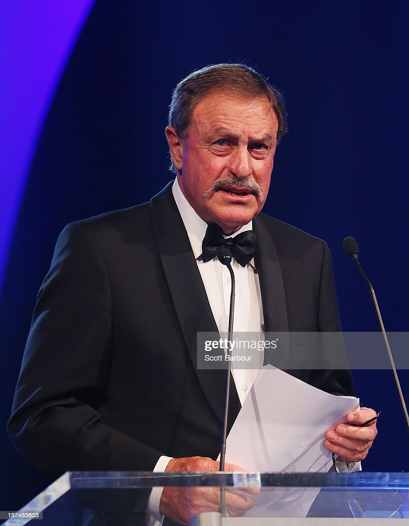 John Newcombe speaks during the 2012 John Newcombe Medal at Crown Palladium on December 3, 2012 in Melbourne, Australia.