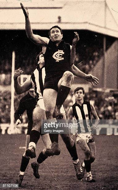 John Nicholls of the Carlton Blues in action during a VFL match held in Melbourne Australia