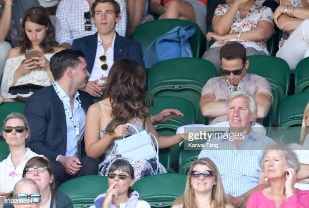 John Noble Vicky Pattison and Joe Swash attend day six of the Wimbledon Tennis Championships at the All England Lawn Tennis and Croquet Club on July...