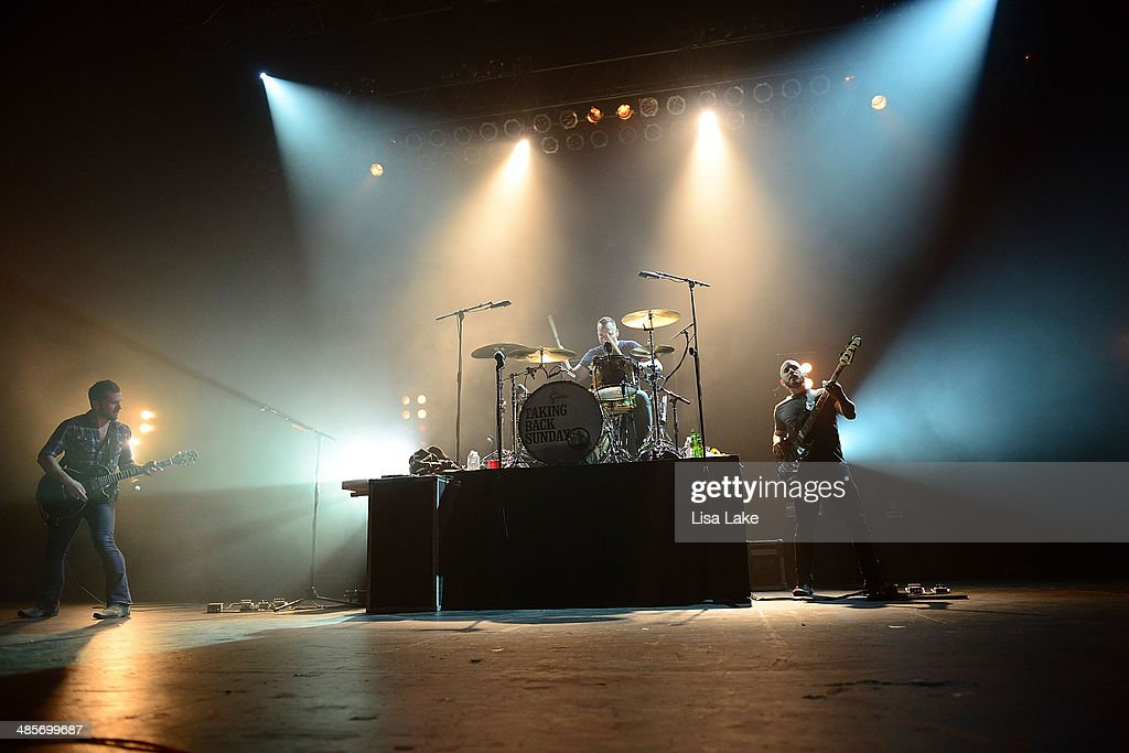 John Nolan, Mark O'Connell and Shaun Cooper of Taking Back Sunday perform at Sands Bethlehem Event Center on April 19, 2014 in Bethlehem, Pennsylvania.