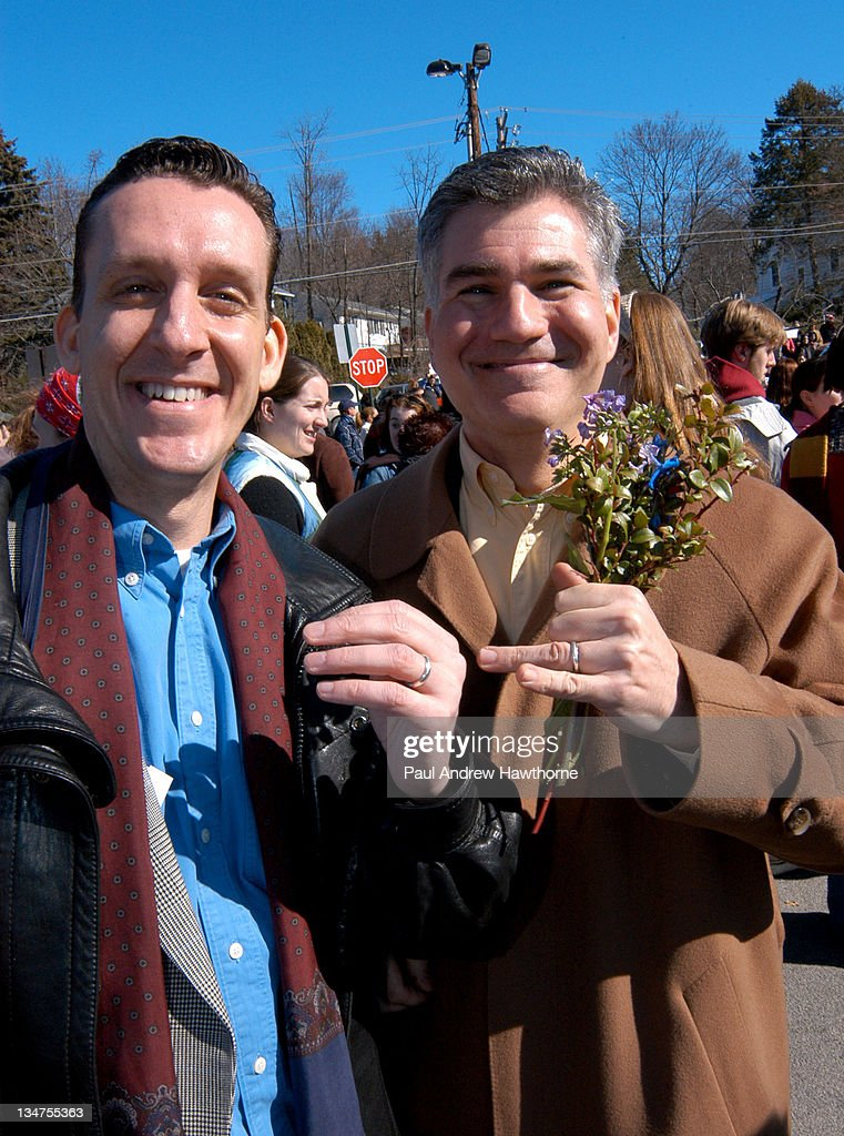 John North and his partner Andrew Burgreen both of Manhattan are all smiles as they show off their wedding bands after their Solemnizing ceremony at...
