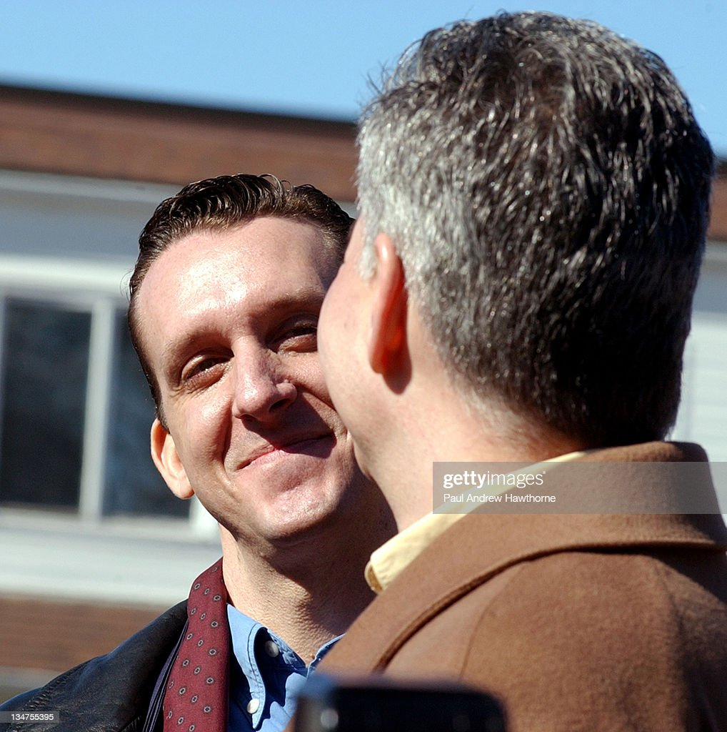 John North smiles at his partner Andrew Burgreen both of Manhattan during a Solemnizing ceremony at the New Paltz Village Hall February 27 in New...