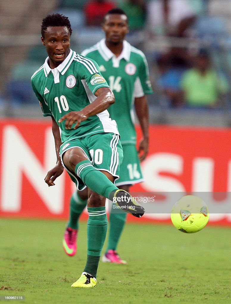 John Obi Mikel of Nigeria during the 2013 African Cup of Nations Semi-Final match between Mali and Nigeria at Moses Mahbida Stadium on February 06, 2013 in Durban, South Africa.