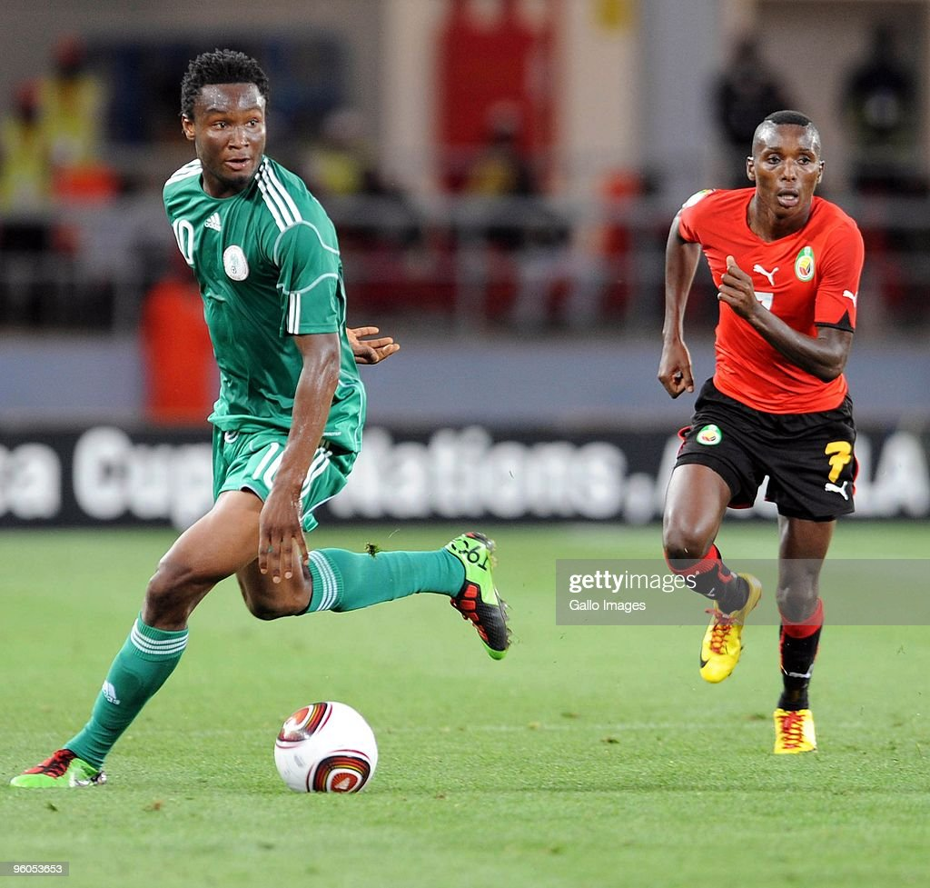 John Obi Mikel (L) of Nigeria in action during the African Nations Cup Group C match between Nigeria and Mozambique, at the Alto da Chela Stadium on January 20, 2010 in Lubango, Angola.
