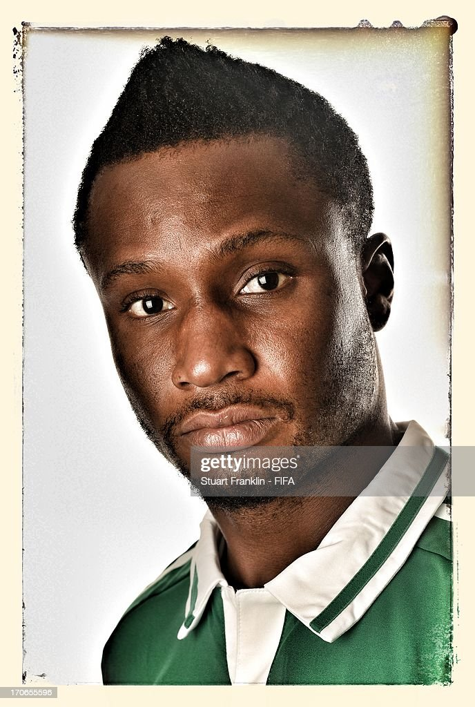 John Obi Mikel of Nigeria poses for a portrait at Cesar business hotel on June 16, 2013 in Belo Horizonte, Brazil.