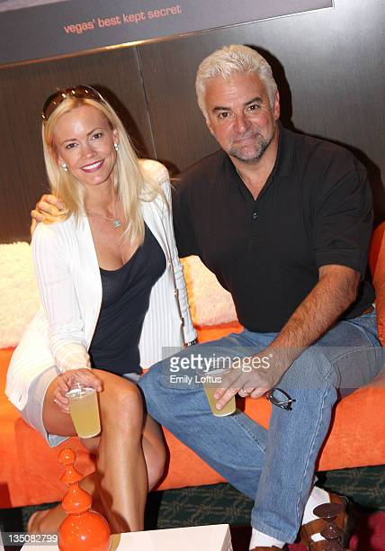 John O'Hurley and Lisa O'Hurley attend the Backstage Creations 2008 American Century Championship Golf Tournament on July 9 2008 in Lake Tahoe...