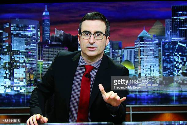John Oliver accepts the TCA Award for Outstanding Achievement in News and Information for 'Last Week Tonight with John Oliver via video at the 31st...