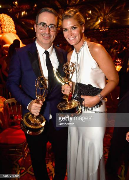 John Oliver and Kate Norley attend the HBO's Official 2017 Emmy After Party at The Plaza at the Pacific Design Center on September 17 2017 in Los...