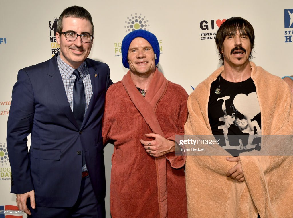 John Oliver, Flea, and Anthony Kiedis attends the 11th Annual Stand Up for Heroes Event presented by The New York Comedy Festival and The Bob Woodruff Foundation at The Theater at Madison Square Garden on November 7, 2017 in New York City.