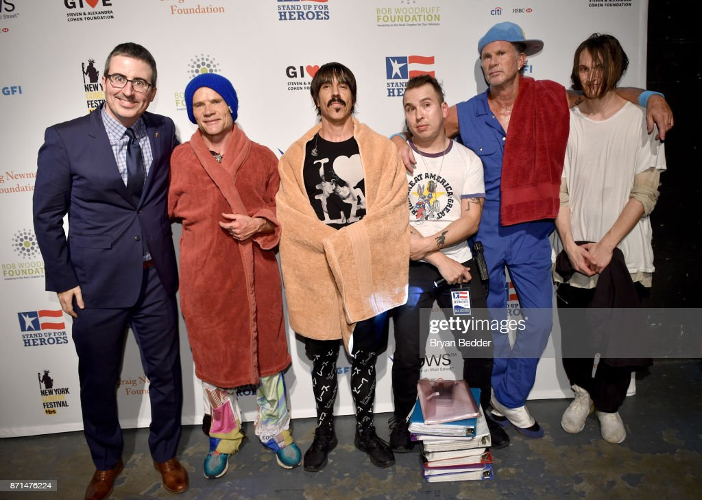 John Oliver, Flea, Anthony Kiedis, Chad Smith and Josh Klinghoffer attend the 11th Annual Stand Up for Heroes Event presented by The New York Comedy Festival and The Bob Woodruff Foundation at The Theater at Madison Square Garden on November 7, 2017 in New York City.