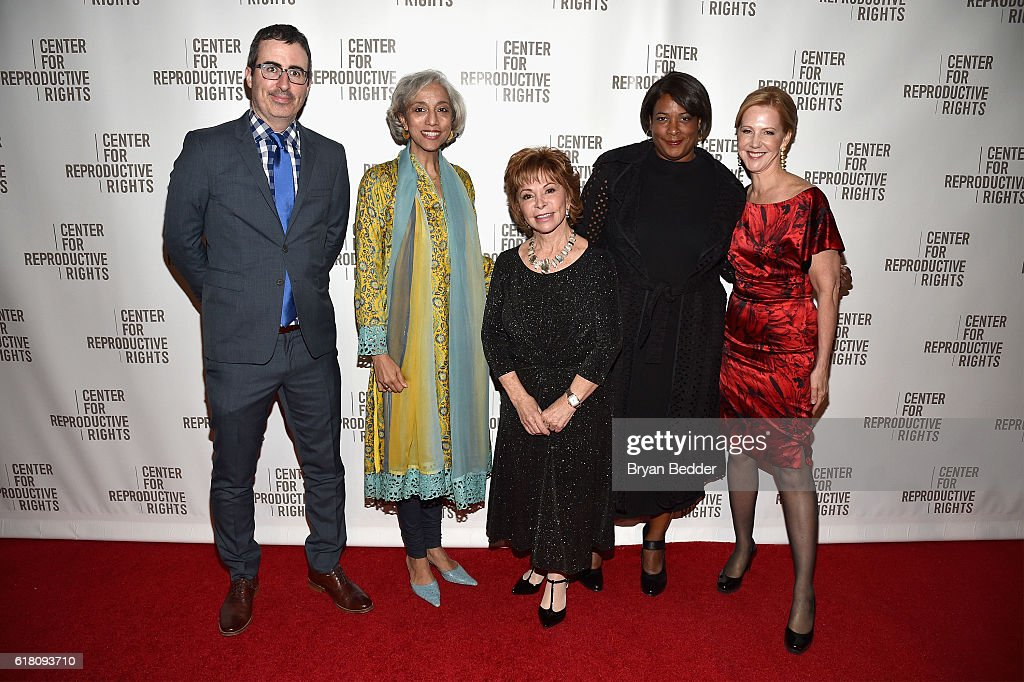 John Oliver, Kavita Ramdas, Isabel Allende, Dawn Porter and Nancy Northup attend The Center for Reproductive Rights 2016 Gala at the Jazz at Lincoln Center on October 25, 2016 in New York City.