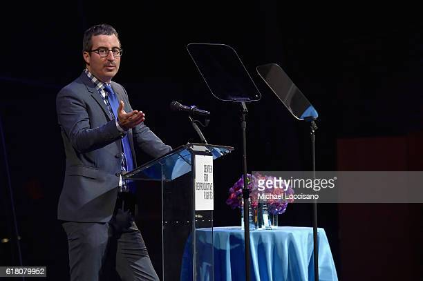 John Oliver speaks onstage at The Center for Reproductive Rights 2016 Gala at the Jazz at Lincoln Center on October 25 2016 in New York City