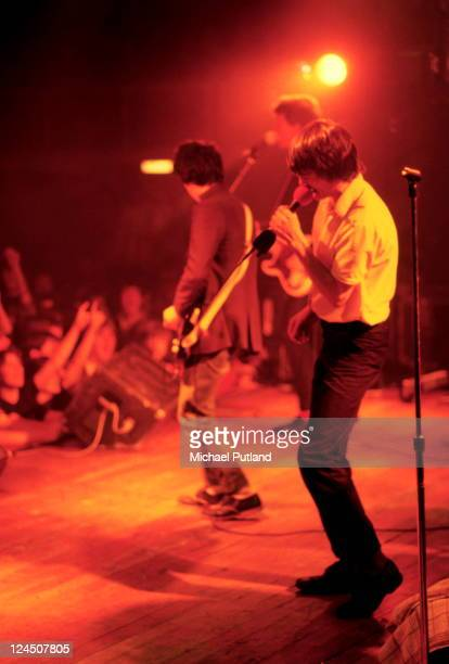 John O'Neill and Feargal Sharkey of The Undertones perform on stage UK 1981