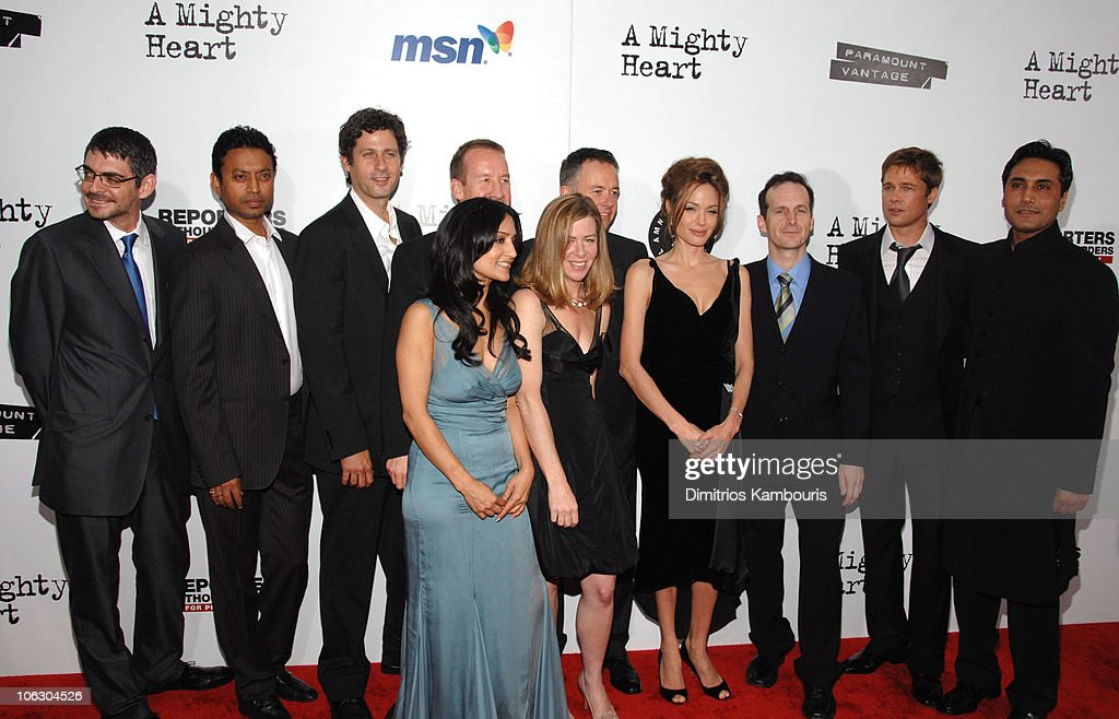 John Orloff, Irrfan Khan, Gary Wilmes, <a gi-track='captionPersonalityLinkClicked' href=/galleries/search?phrase=Archie+Panjabi&family=editorial&specificpeople=811427 ng-click='$event.stopPropagation()'>Archie Panjabi</a>, <a gi-track='captionPersonalityLinkClicked' href=/galleries/search?phrase=Michael+Winterbottom&family=editorial&specificpeople=220190 ng-click='$event.stopPropagation()'>Michael Winterbottom</a>, Dede Gardner, <a gi-track='captionPersonalityLinkClicked' href=/galleries/search?phrase=Michael+Winterbottom&family=editorial&specificpeople=220190 ng-click='$event.stopPropagation()'>Michael Winterbottom</a>, <a gi-track='captionPersonalityLinkClicked' href=/galleries/search?phrase=Angelina+Jolie&family=editorial&specificpeople=201591 ng-click='$event.stopPropagation()'>Angelina Jolie</a>, <a gi-track='captionPersonalityLinkClicked' href=/galleries/search?phrase=Denis+O%27Hare&family=editorial&specificpeople=213830 ng-click='$event.stopPropagation()'>Denis O'Hare</a>, <a gi-track='captionPersonalityLinkClicked' href=/galleries/search?phrase=Brad+Pitt+-+Actor&family=editorial&specificpeople=201682 ng-click='$event.stopPropagation()'>Brad Pitt</a> and Adnan Siddiqui,