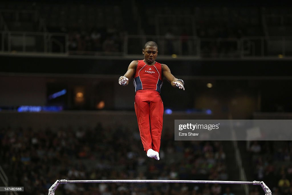<a gi-track='captionPersonalityLinkClicked' href=/galleries/search?phrase=John+Orozco&family=editorial&specificpeople=5084199 ng-click='$event.stopPropagation()'>John Orozco</a> competes on the high bar during day 3 of the 2012 U.S. Olympic Gymnastics Team Trials at HP Pavilion on June 30, 2012 in San Jose, California.