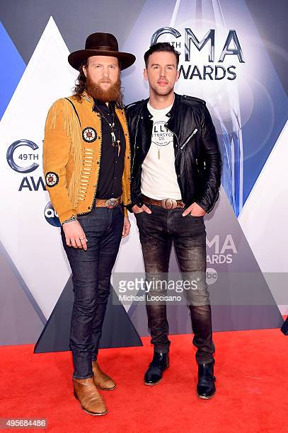 John Osborne and TJ Osborne of Brothers Osborne attend the 49th annual CMA Awards at the Bridgestone Arena on November 4 2015 in Nashville Tennessee
