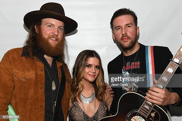 John Osborne of the Brothers Osborne Maren Morris and TJ Osborne of the Brothers Osborne backstage at the AIMP Nashville Awards on April 18 2016 in...
