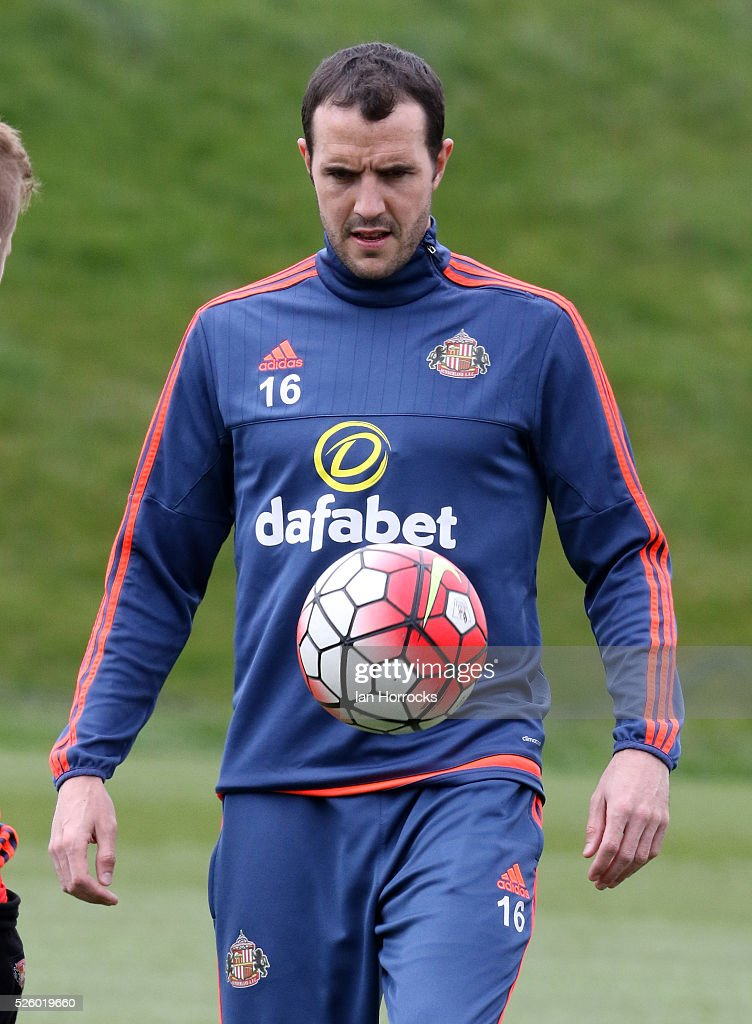 John O'Shea controls the ball during a Sunderland AFC training session at The Academy of Light on April 29, 2016 in Sunderland, England.