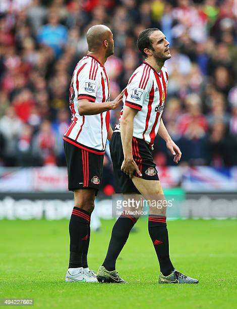 John O'Shea of Newcastle United goes off injured during the Barclays Premier League match between Sunderland and Newcastle at The Stadium of Light on...