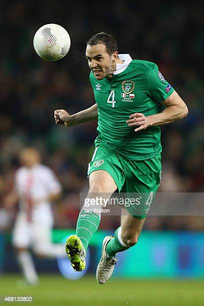 John O'Shea of Republic of Ireland in action during the Euro 2016 qualifying football match between Republic of Ireland and Polandat Aviva Stadium on...