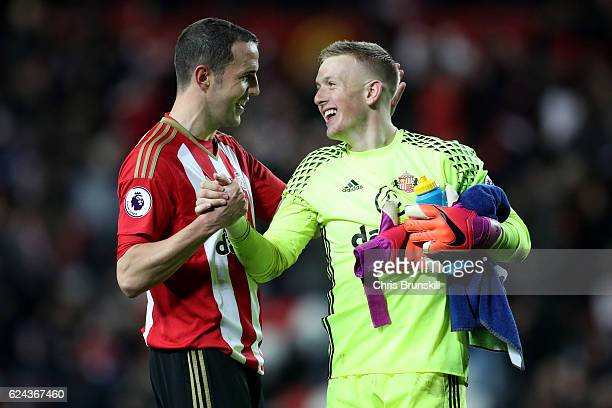 John O'Shea of Sunderland congratulates teammate Jordan Pickford at fulltime following the Barclays Premier League match between Sunderland and Hull...
