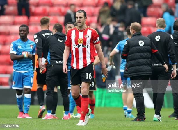 John O'Shea of Sunderland leaves the pitch following the full time whistle in the Premier League match between Sunderland and AFC Bournemouth at the...