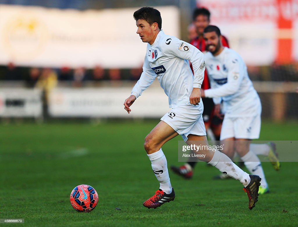 John Oster of Gateshead in action during the FA Cup first round match between Norton United and Gateshead at Smallthorne on November 9 2014 in Stoke...