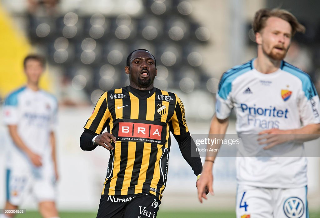 John Owoeri of BK Hacken reacts during the Allsvenskan match between BK Hacken and Djurgardens IF at Bravida Arena on May 29, 2016 in Gothenburg, Sweden.