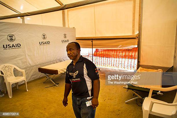 John P Keller an hygienist supervisor inside one of the Ebola wards of the new Ebola Treatment Unit now called MOD which is located on an old...