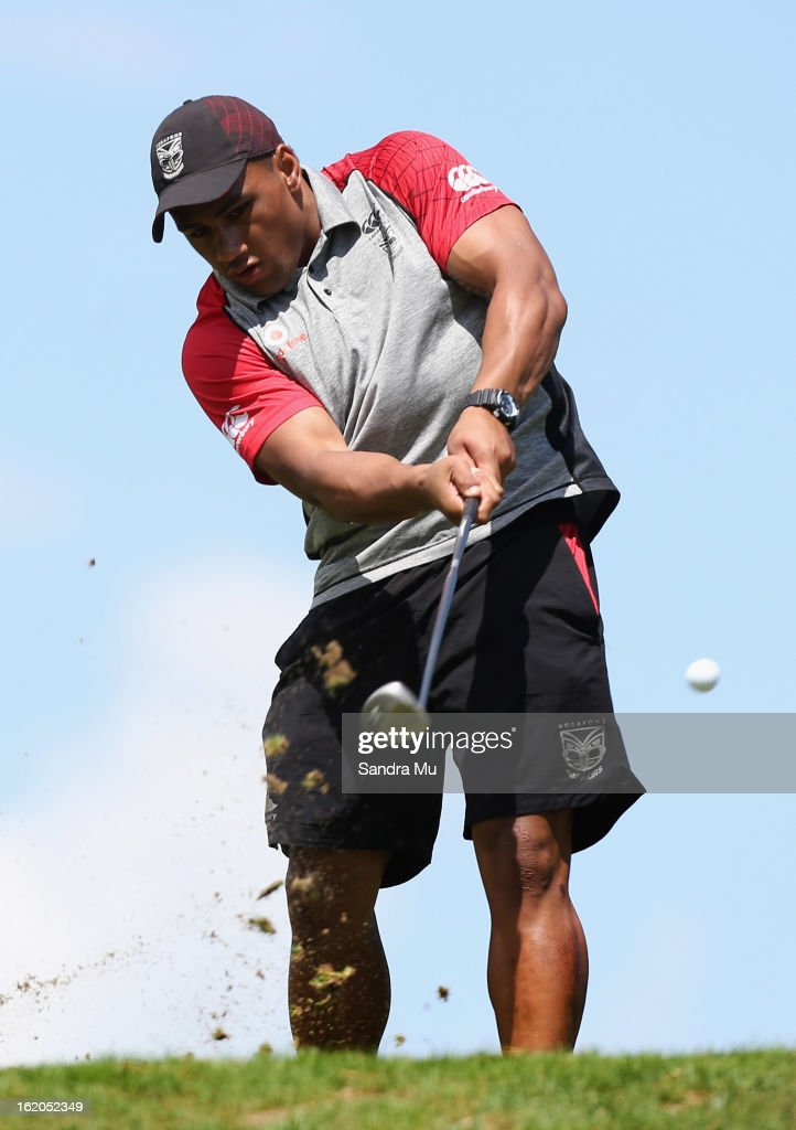John Palavi of the Warriors tees off during a New Zealand Warriors NRL golf day at Titirangi Golf Club on February 19, 2013 in Auckland, New Zealand.