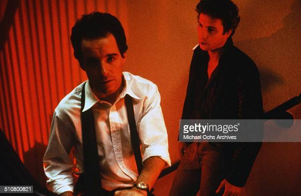 John Pankow and William Petersen talk in a scene from the MGM movie 'To Live and Die in LA' circa 1985
