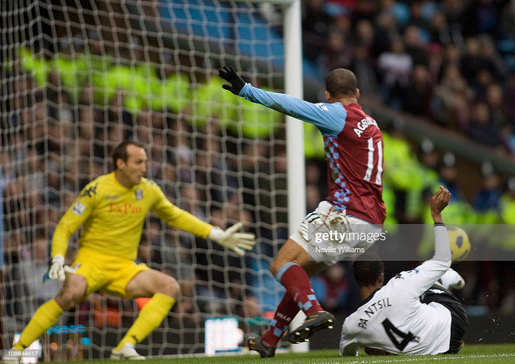 John Pantsil of Fulham scores an own goal for Aston Villa during the Barclays Premier League match between Aston Villa and Fulham at Villa Park on February 5, 2011 in Birmingham, England.
