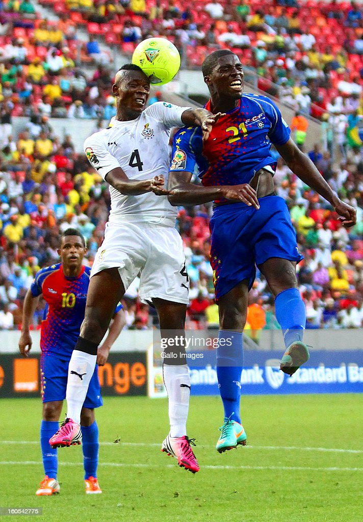 John Pantsil (L) of Ghana and Jorge Djaniny Semedo of Cape Verde Islands during the 2013 African Cup of Nations Quarter Final 1 match between Ghana and Cape Verde Islands from Nelson Mandela Bay Stadium on February 02, 2013 in Port Elizabeth, South Africa.