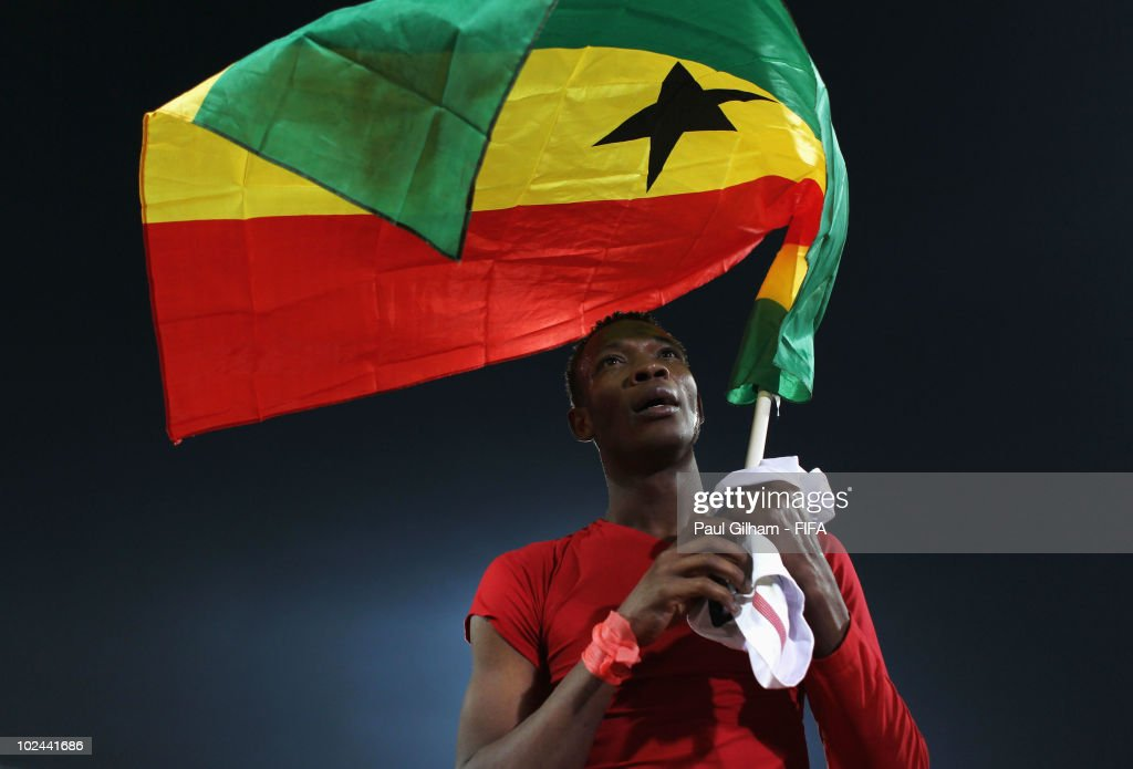 John Pantsil of Ghana celebrates progress to the quarter finals after the 2010 FIFA World Cup South Africa Round of Sixteen match between USA and Ghana at Royal Bafokeng Stadium on June 26, 2010 in Rustenburg, South Africa.