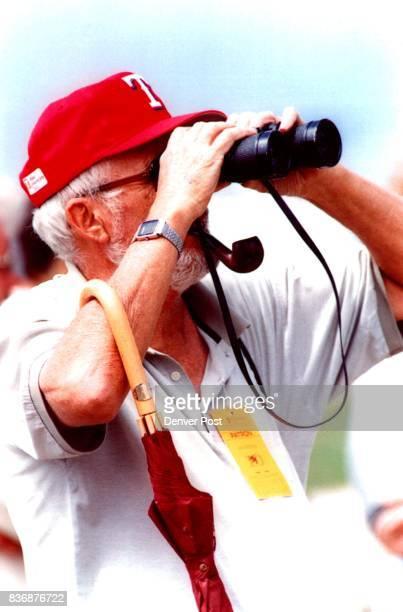 John Parker of castle rock gets a close look at the golfers Credit Denver Post