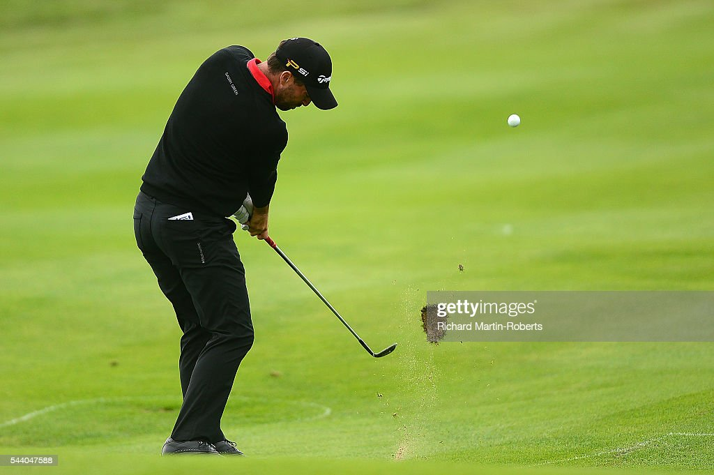 <a gi-track='captionPersonalityLinkClicked' href=/galleries/search?phrase=John+Parry+-+Golfer&family=editorial&specificpeople=2579436 ng-click='$event.stopPropagation()'>John Parry</a> of England hits his 2nd shot on the 9th hole during the second round of the 100th Open de France at Le Golf National on July 1, 2016 in Paris, France.
