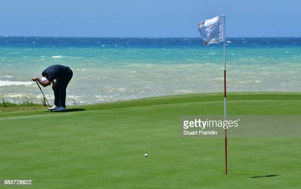 John Parry of England reacts after a shot on the 7th green during day three of The Rocco Forte Open at Verdura Golf and Spa Resort on May 20 2017 in...