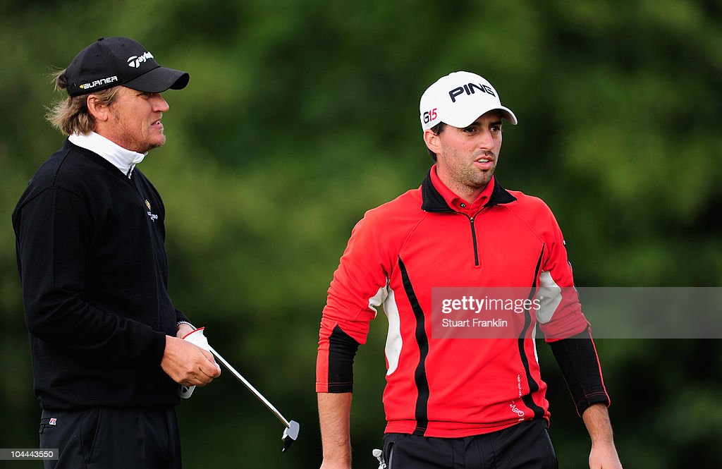 John Parry of England with playing partner Jarmo Sandelin of Sweden during the third round of the Vivendi cup at Golf de Joyenval on September 25...